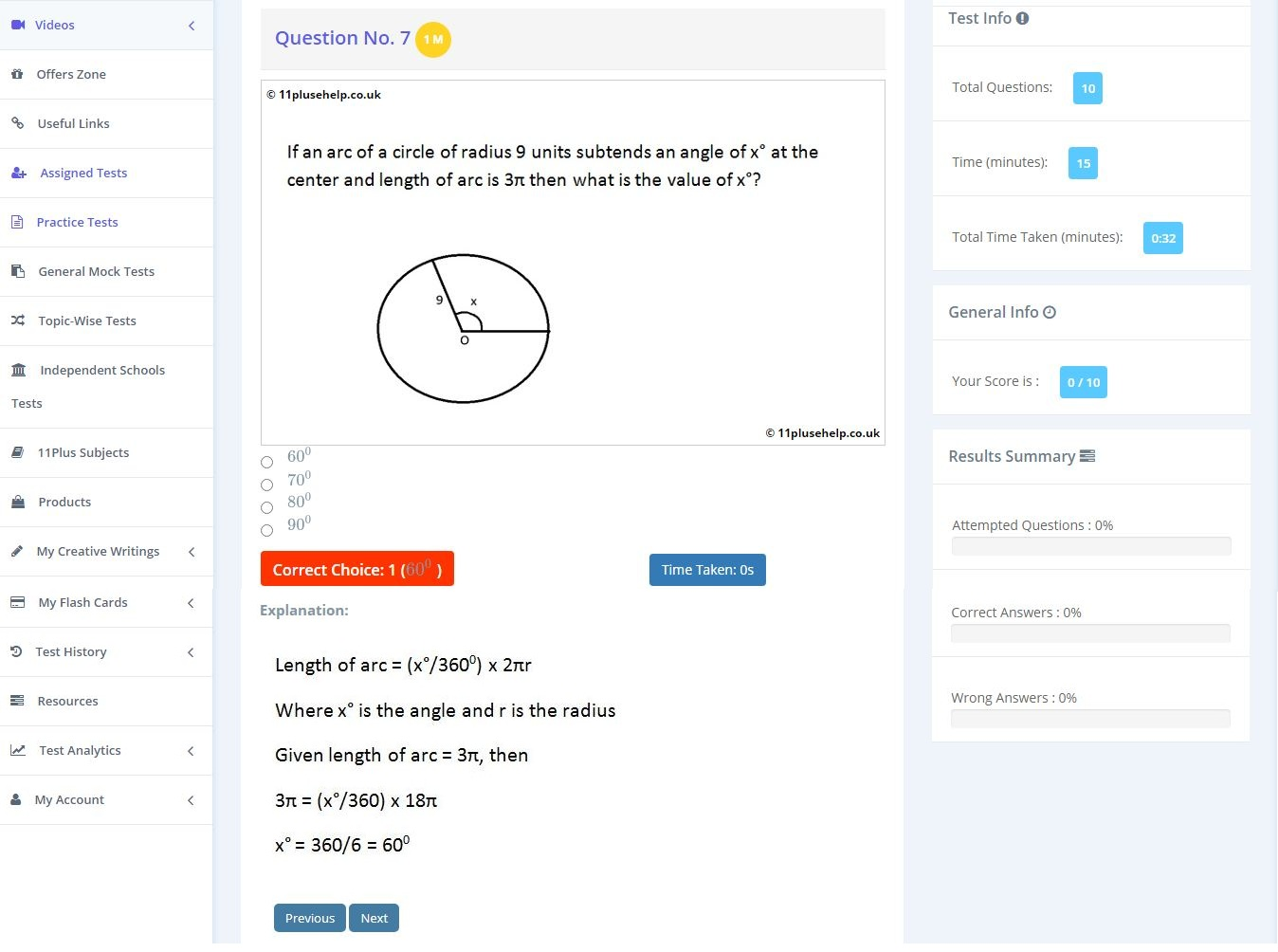 11 plus Angles Example
