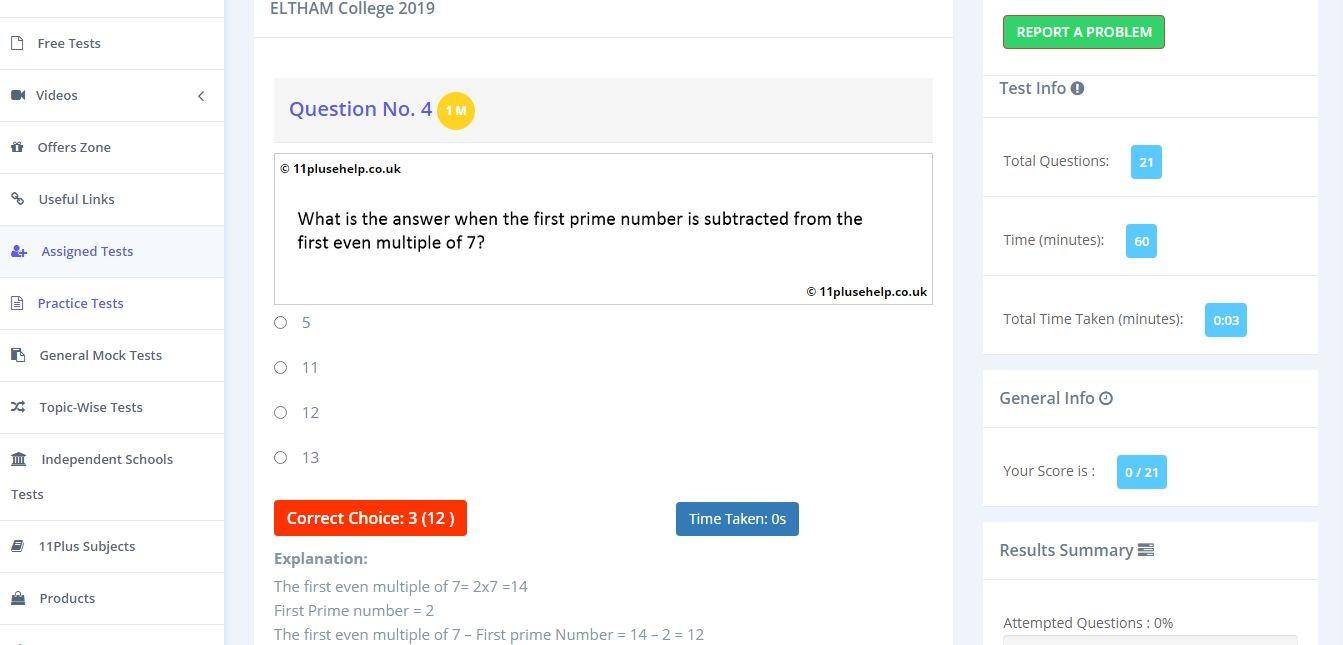 11 Plus Independent School Maths Sample Paper