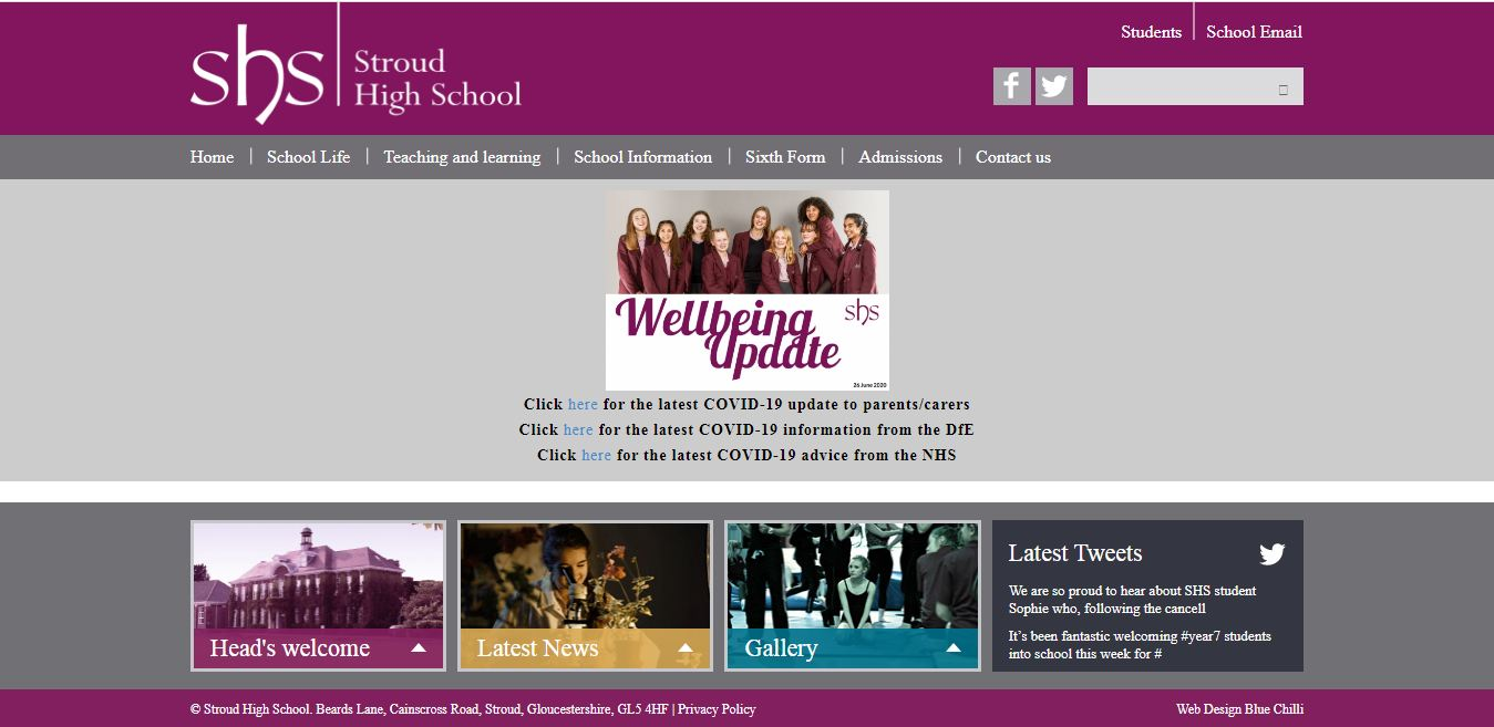 Stroud High School Home page